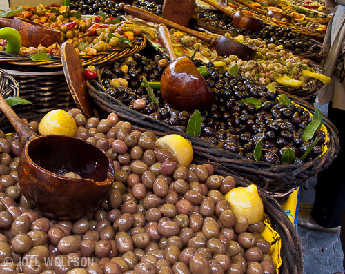 Here is a simple close-up of some olives at a market in Provence, France. Even with something simple like this we can see from the variety and the care in presentation that this is likely an area where the locals really love olives.